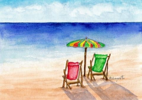 Front Row Seats - Painting,  5x7 in, ©2008 by Allegretto -                                                                                                              Beach, original arwork watercolor seascape paesaggio marino