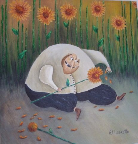 Loves Me, Loves Me Not - Painting ©2008 by Pamela Allegretto-Franz -                                                            Contemporary painting, Canvas, Fantasy, cartoon, illustration, animation, flowers