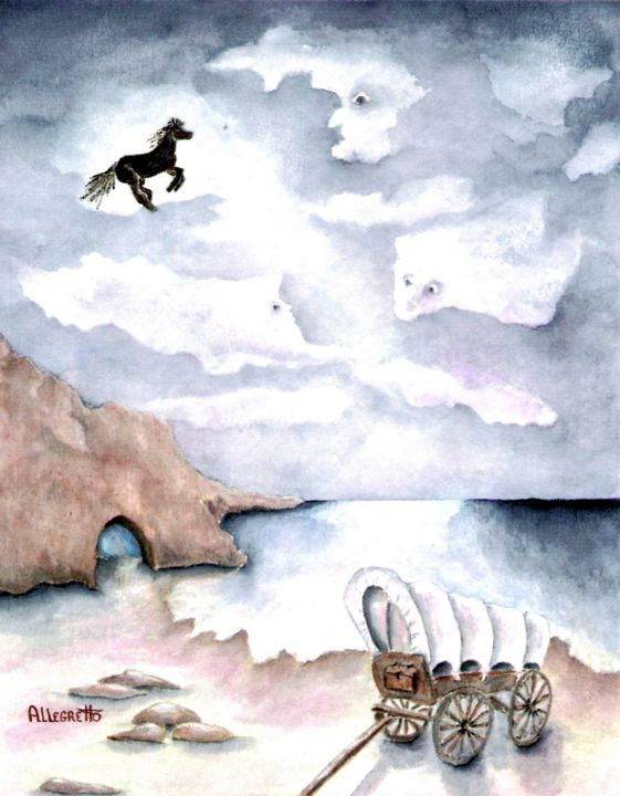 Midnight Ride - © 2008 watercolor, seascape, fantasy, acquerello, fantasia, midnight, horse, black horse, cave, landscape, ocean, sea, beach, covered wagon, magical, contemporary, clouds, night sky, ghosts, surrealism Online Artworks
