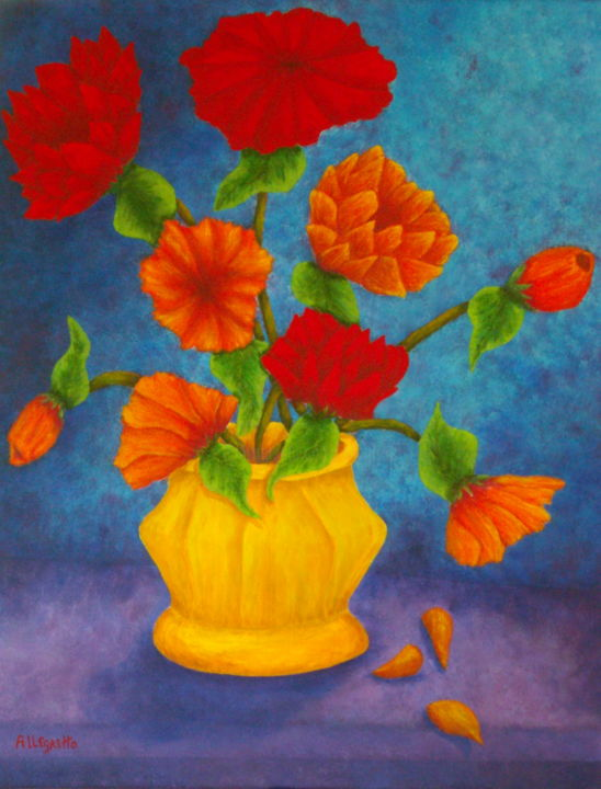 """Painting titled """"Spring Bouquet"""" by Allegretto, Original Art, Acrylic"""