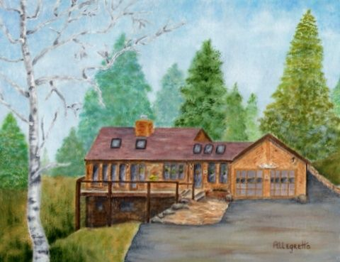 Chris & Bo's House - Painting,  11x14 in ©2008 by Pamela Allegretto-Franz -                                                            Contemporary painting, Canvas, Architecture, Painting of a log house in the Colorado Mountains