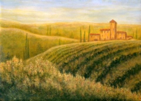 """Painting titled """"Tuscan Sunrise"""" by Allegretto, Original Art, Acrylic"""