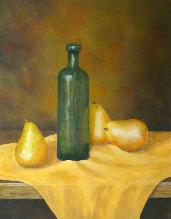 Roman Table - Painting,  14x11 in ©2009 by Pamela Allegretto-Franz -                                                            Trompe-l'œil, Canvas, Food & Drink, still life, trompe l'oeil, pears, green, glass, wine bottle, Roman Table, tavolo Romano, original, acrylic, pere, vino, food and beverage, decorative, kitchen, rome, roma, italy, italia, cibo