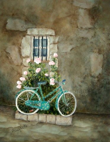 Bike Painting, acrylic, artwork by Allegretto