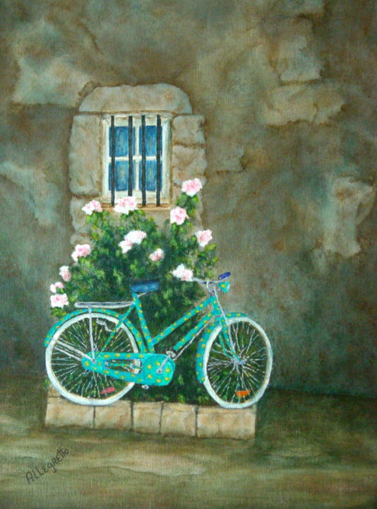 Home For Lunch 2 - Painting,  14x11 in ©2009 by Pamela Allegretto-Franz -                                                            Contemporary painting, Canvas, Bike, bicycle, Italian street scene, Rome, italy, roma, italia, Bicicletta, colorato, muro antico, latium, travel, tourism, modern art, cityscape, mediterranean scene, painting