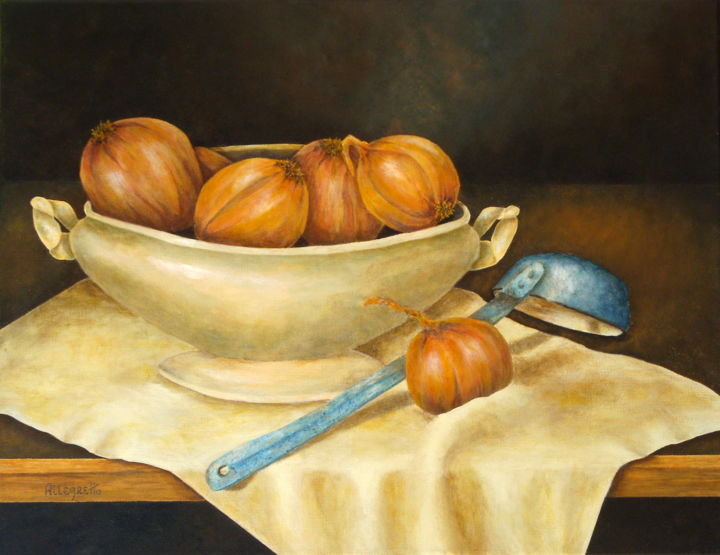 Venetian Table - Painting,  14x18 in, ©2009 by Allegretto -                                                                                                                                                                                                                                                                                                                                                                                                                                                                                                                                                                                                                                                                                                                                                                                                                      Hyperrealism, hyperrealism-612, Food & Drink, Trompe loeil, still life, onions, tureen, blue laddle, Venetian kitchen, venice, food and beverage, cipolle, acrylic painting, travel, italy, italian scene, italia