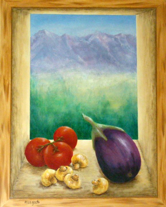 Colorado Mountain Gourmet - © 2010 Trompe loeil, window view, Rocky Mountains, colorado, tomatoes, mushrooms, eggplant, windowsill, landscape, melanzana, pomodori, window scene, l;andscape, mountains, food and beverage Online Artworks