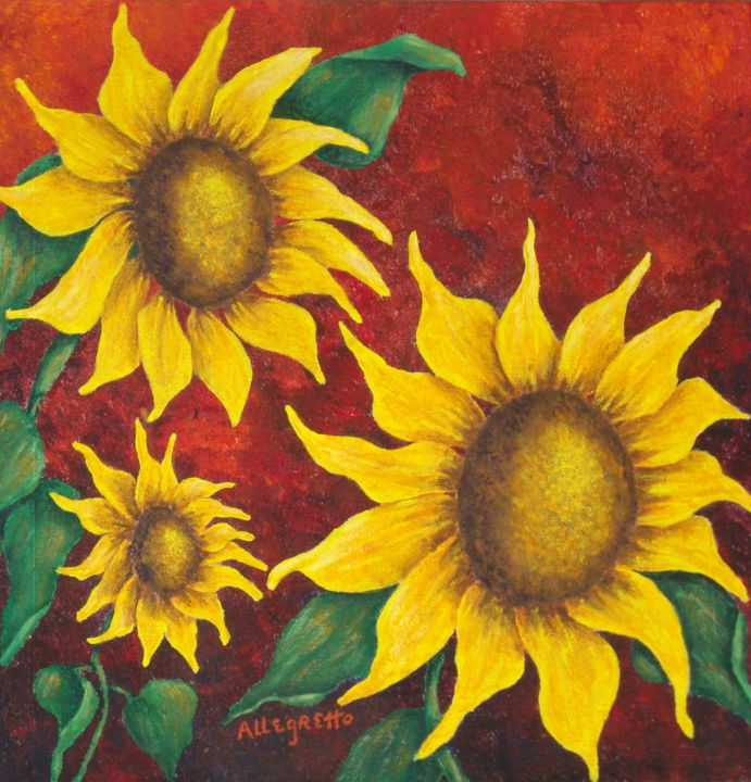 """Painting titled """"Sunflowers at Sunset"""" by Allegretto, Original Art,"""