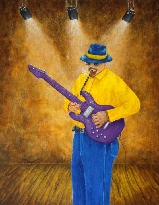 """Painting titled """"Jazz Guitar Man"""" by Allegretto, Original Art, Acrylic"""
