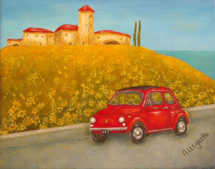 Vintage Fiat 500 - Painting,  8x10x1 in, ©2013 by Allegretto -                                                                                                                                                                                                                                                                                                                                                                                                                                                                                                                                                                                                                                                                                                                                                                                                                                                                                                                                                                                  Automobile, Pamela allegretto franz, pam franz, Pamela allegretto, allegretto art, fiat 500, red fiat, red fiat 500, vintage fiat 500, italy, Italia, Tuscany, Toscana, landscape, tuscan landscape, seascape, wild flowers, flowers, floral, ca, automobile