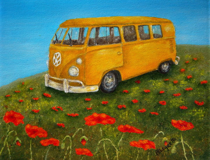 Vintage bus - Painting,  8x10 in ©2014 by Pamela Allegretto-Franz -                                                            Contemporary painting, Canvas, Automobile, vintage cars, cars, buses, autos, automobile, nature, scenic, poppy, poppies, poppy field, out doors, summer, vehicle, colorado, rocky mountains, orange, green, blue, red, yellow, floral, flowers, hippie art, hippies, marijuana
