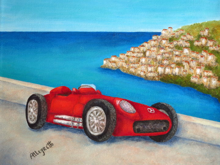 mercedes Benz W196 Formula 1 Single Seater - Painting,  8x10 in ©2014 by Pamela Allegretto-Franz -                                                            Contemporary painting, Canvas, Automobile, Allegretto art, Pamela allegretto, pam franz, Pamela allegretto franz, automobile, car racing car, classic cars, Mercedes benz, formula cars, red cars, sports cars, convertibles, wheels, red car, Italy, automotive, italia, Italian Riviera, seascape, lands