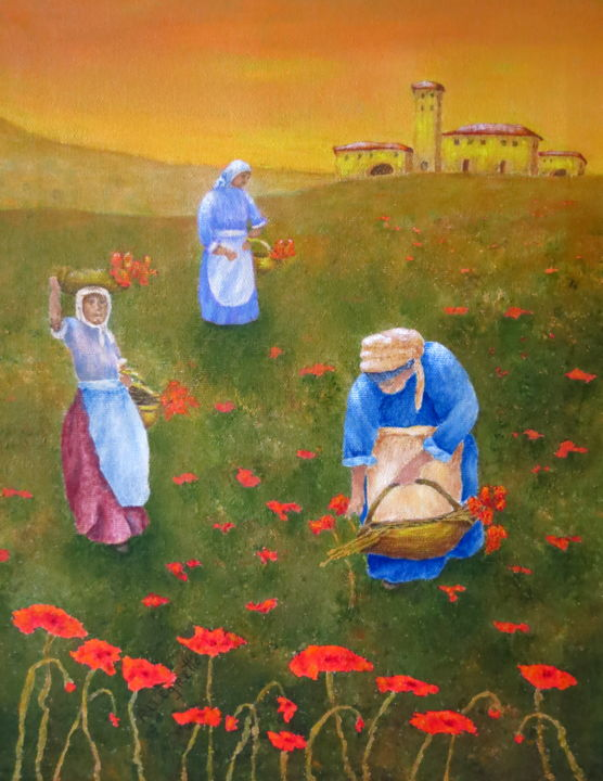 harvesting-poppies-in-tuscany-lagre-file-2848x3687.jpg - Painting,  11x0.5x14 in ©2014 by Pamela Allegretto-Franz -                                                            Contemporary painting, Canvas, Landscape, Pamela allegretto franz, pam franz allegrettoart, italy, italia, tuscany, landscape, tuscan farm house, sunset, sunrise, poppies, travel, italian tourism, flowers, Toscana, tramonte