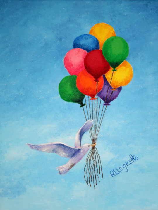 Unity - ©  pamela allegretto franz, pam franz, allegretto art, pamela allegretto, birds, gulls, sea gulls, sky, balloons, toys, colorful, spiritual, unity, red, yellow, blue, purple, green, pink, orange Online Artworks