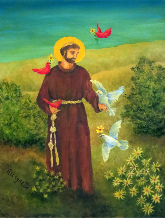 St. Francis of Assisi - ©  religious art, st francis of assisi, san francesco d'assisi, saint, christianity, catholic, religion, monk, icon, prayer, umbria, italian Online Artworks