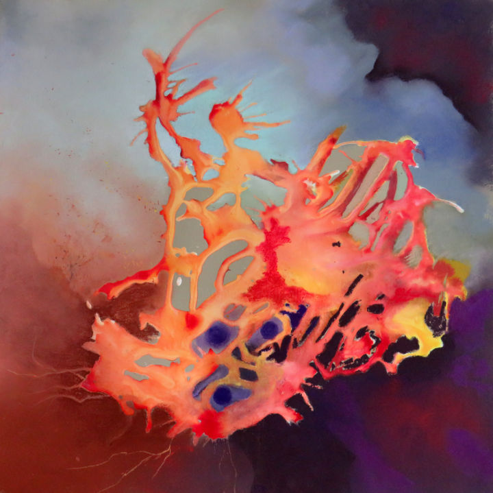 Fantaisie de corail.jpg - Painting,  19.7x19.7 in, ©2019 by Claudette Allosio -                                                                                                                                                                                                                                                                                                                                                                                                          Abstract, abstract-570, Nature, corail, climat, nature, art abstrait, expressionnisme