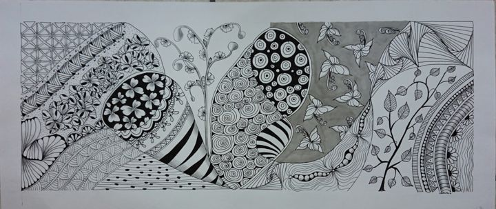 """Drawing titled """"C84 Fresque opus2"""" by Claudette Allosio, Original Art, Marker"""