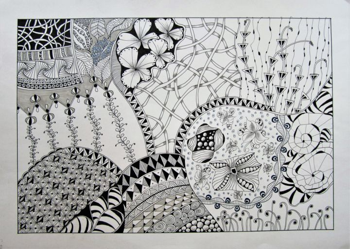 """Drawing titled """"C87"""" by Claudette Allosio, Original Art, Marker"""