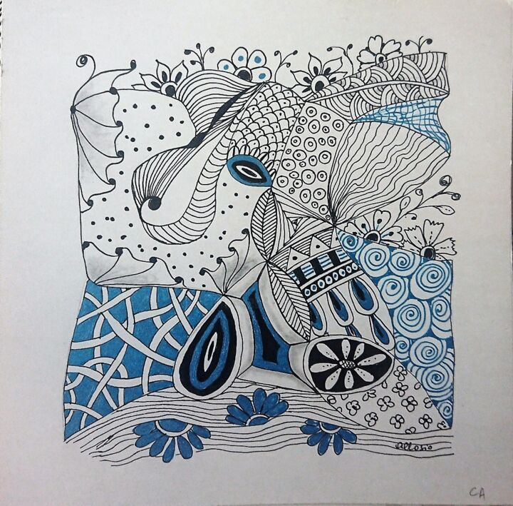 """Drawing titled """"CA65"""" by Claudette Allosio, Original Art, Marker"""