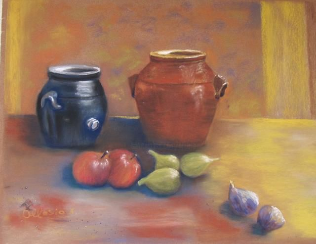 nature morte aux figues - Painting,  40x50 cm ©2010 by Claudette Allosio -                            Still life, vinaigrier en grés, fruits d'automne pommes et figues