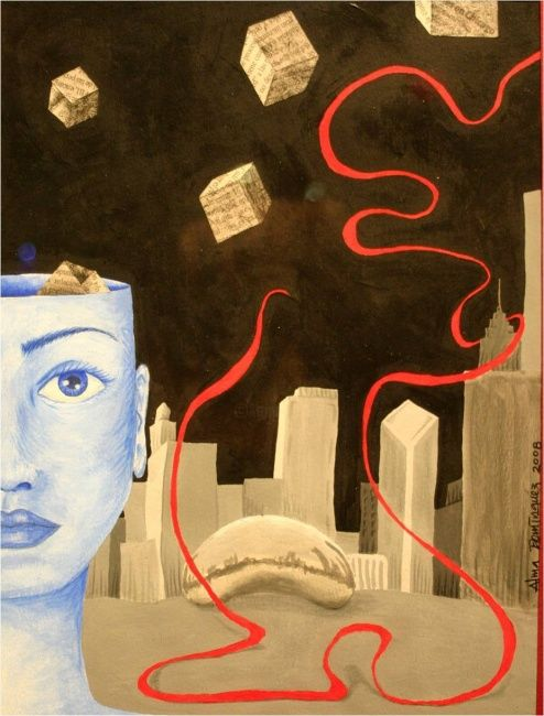 """Painting titled """"Chicago"""" by Alma Domínguez, Original Art,"""