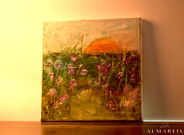 FLOWERS OF THE SUN - Painting,  20x20x1.5 cm ©2017 by ALMAREIS -                                                                                                Contemporary painting, Land Art, Canvas, Botanic, Flower, Nature, unique, sun, oil painting, oil on canvas, flower field, flowers, landscape, nature, flower, botanic