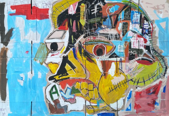 Bad comedy - Painting,  35.4x47.2 in, ©2019 by Hector O'Kanin -                                                                                                                                                                          Outsider Art, outsider-art-1044, Abstract Art