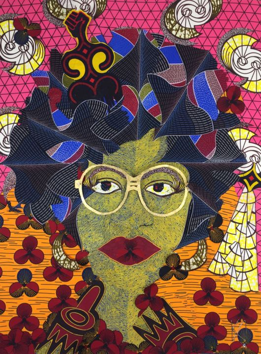 Soul sister - Textile Art,  40x30x5 in, ©2017 by Kwame Akpokavi -                                                                                                                                                                                                                                                                                                                  Abstract, abstract-570, Fashion, Soul, afro, black beauty