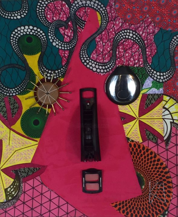 Do you like my new nose - Textile Art,  23.6x19.7x2 in, ©2019 by Kwame Akpokavi -                                                                                                                                                                                                                                                                                                                  Abstract, abstract-570, Abstract Art, plastic syergry, face, nose