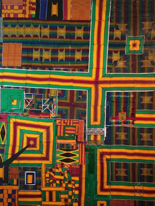 Sankofa, picking up from when our progress was interrupted! - Textile Art,  40.2x26x1.2 in, ©2020 by Kwame Akpokavi -                                                                                                                                                                          Abstract, abstract-570, Aerial