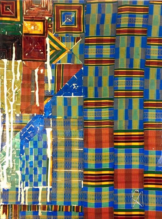 Integrate or segregate? - Textile Art,  31.5x23.6x1.6 in, ©2020 by Kwame Akpokavi -                                                                                                                                                                                                                          Abstract, abstract-570, Education, Sankofa