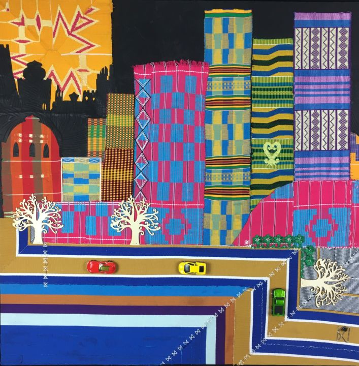 Afritecture - Textile Art,  35.4x35.4x2 in, ©2020 by Kwame Akpokavi -                                                                                                                                                                                                                          Abstract, abstract-570, Architecture, architecture