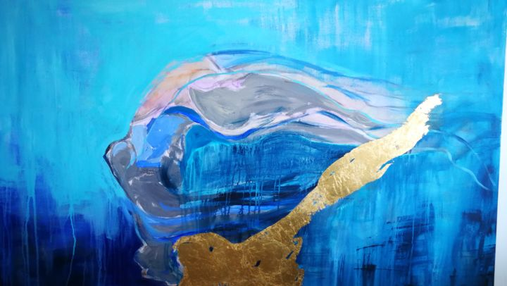 Liberdade serena-Serenity freedom - Painting,  120x150x5 cm ©2018 by Ana Leonor Rocha Rocha -                                                                                                                    Abstract Art, Figurative Art, Abstract Expressionism, Contemporary painting, Canvas, Colors, Body, Water