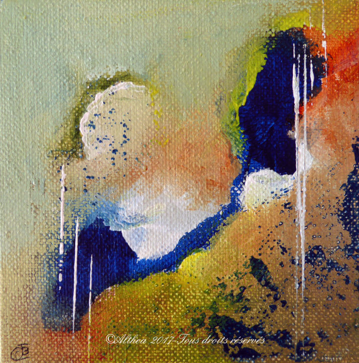 CB10 - Painting,  10x10 cm ©2017 by Althea -                                                        Abstract Art, Canvas, Abstract Art