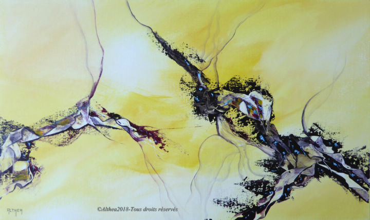 Between us - Painting,  33x55 cm ©2018 by Althea -                                                        Abstract Art, Canvas, Abstract Art