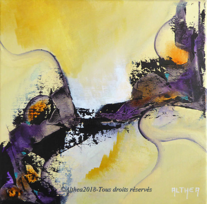 GM1 - Painting,  20x20 cm ©2018 by Althea -                                                        Abstract Art, Canvas, Abstract Art