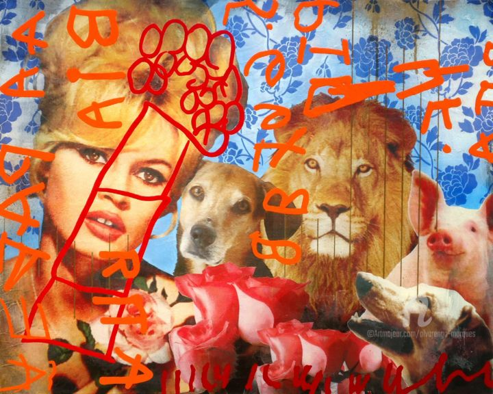 """Painting titled """"BB & friends"""" by Alvarenga Marques, Original Art, Acrylic Mounted on Stretcher frame"""