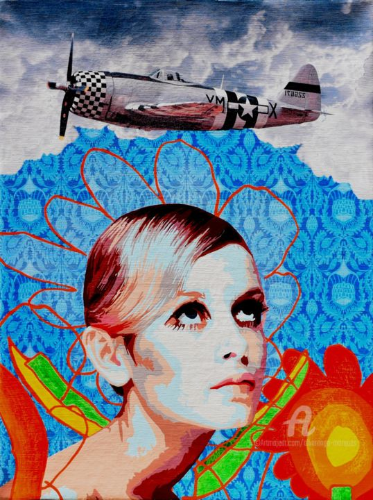 Twiggy - © 2017 Twiggy, celebrity, icon, airplane, beauty, flowers, blue Online Artworks