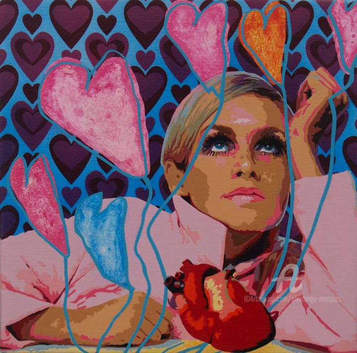 """Painting titled """"All you need is love"""" by Alvarenga Marques, Original Art, Acrylic Mounted on Stretcher frame"""