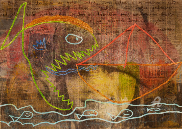 """Painting titled """"""""Ode to the big sea"""""""" by Alvarenga Marques, Original Art, Acrylic Mounted on Stretcher frame"""