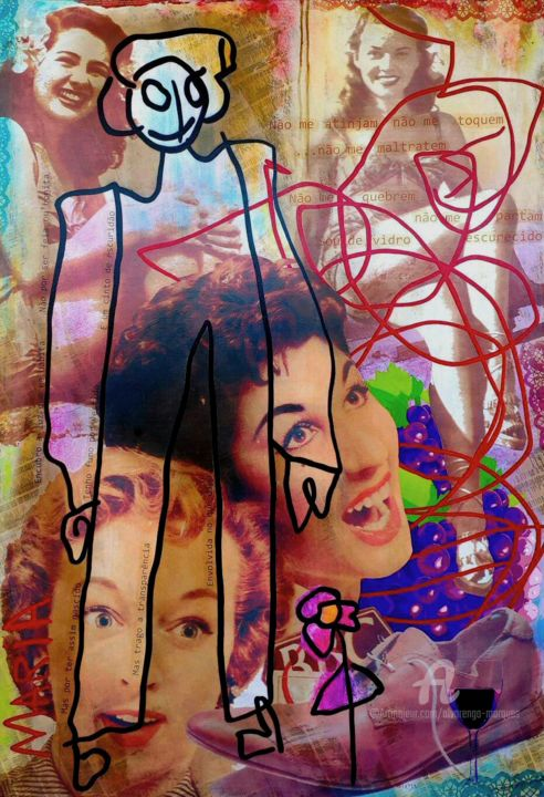 """Painting titled """"Maria Remixed"""" by Alvarenga Marques, Original Art, Acrylic Mounted on Stretcher frame"""