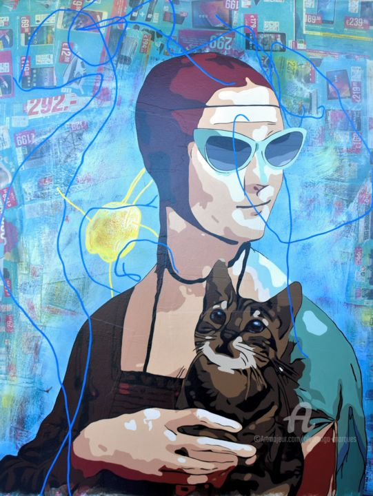 """Painting titled """"Lady with Kitten"""" by Alvarenga Marques, Original Art, Acrylic"""