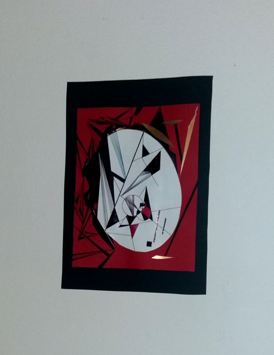 Geometric painting black and red - Painting,  9.8x3.9 in, ©2017 by Amal -                                                              Abstract Art
