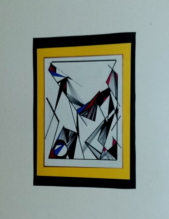 Black and yellow - Painting,  9.8x3.9 in, ©2017 by Amal -                                                              Abstract Art
