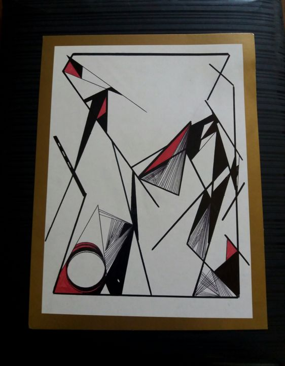Geometric painting - Painting,  9.8x3.9 in, ©2017 by Amal -                                                              Abstract Art