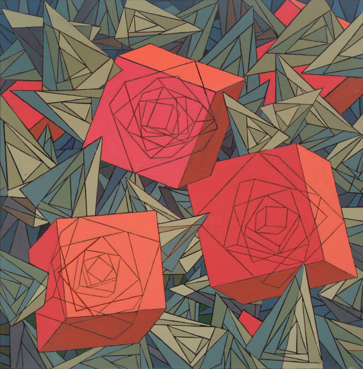 Red Roses - Painting,  28.4x28.4x0.8 in, ©2019 by Aman Modyev -                                                                                                                                                                                                                                                                      Geometric, geometric-572, Still life, red roses, roses