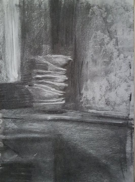 """Drawing titled """"Presence Of Absence…"""" by Amani Hassan, Original Art, Charcoal"""