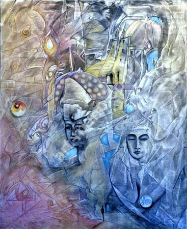 No Title - Painting ©2002 by Amano -                            Surrealism, intuitif spirituel esprit