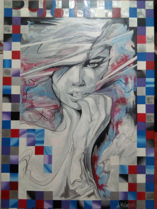 Art under my skin - Pintura,  43,3x27,6x0,1 in, ©2014 por Mircea Augustin Cozma -