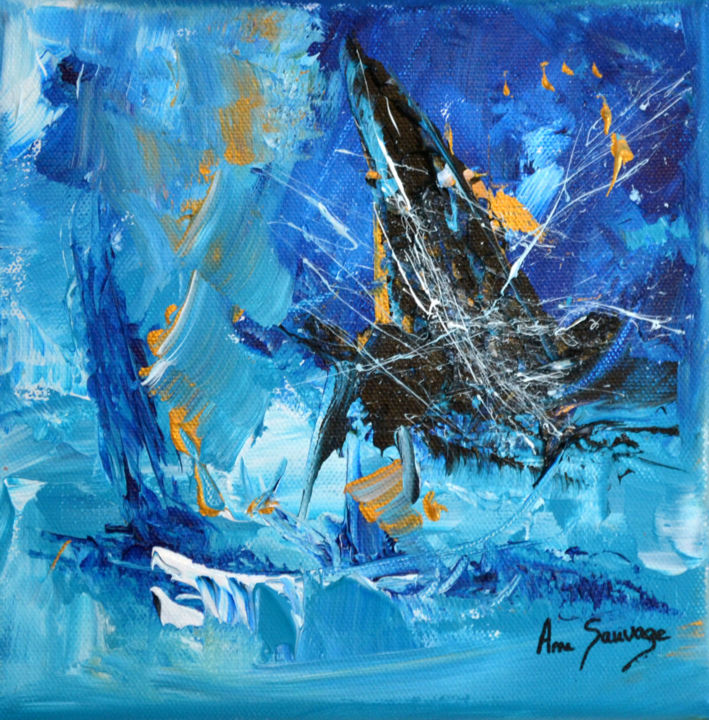 Ice - Painting,  20x20x2 cm ©2017 by ame sauvage -                                                                        Abstract Art, Contemporary painting, Canvas, Abstract Art, tableau bleu, tableau abstrait, tableau contemporain, tableau moderne, peinture abstraite, peinture moderne, peinture contemporaine